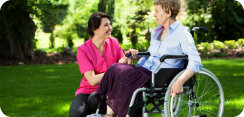 caregiver and elderly woman talking