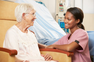 nurse attending senior woman's need
