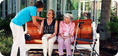 caregiver and elderly women
